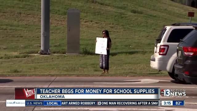 Oklahoma teacher panhandles for school supplies
