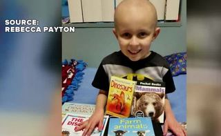 Mother giving sick kids books in memory of son