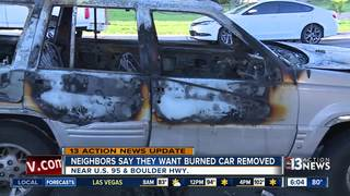 Car blocking fire lane after being set on fire