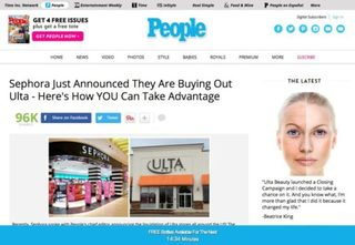 Women being duped by fake Ulta Beauty ad