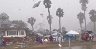 VIDEO: Flying umbrellas on Calif. beach