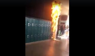 Student sets paper sign on fire at Coronado High
