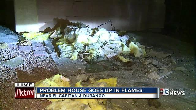Las Vegas problem house goes up in flames