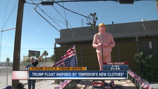Naked Trump statue paraded down Las Vegas Strip