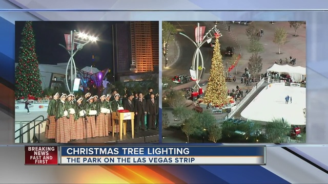 christmas tree lit at the park near t mobile arena ktnvcom las vegas