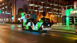Dragon car giving art tours of downtown Vegas