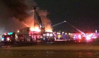 Firefighter injured in massive Las Vegas fire