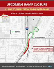 I-15 off-ramp to Charleston closed for 30 days