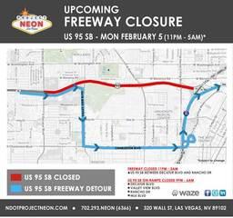 Southbound U.S. 95 closure Monday overnight