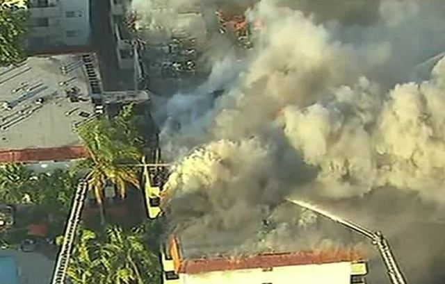 Large apartment complex bursts into flames near Los Angeles