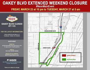 Oakey Boulevard at I-15 closed this weekend