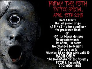 Where to get a Friday the 13th tattoo in Vegas