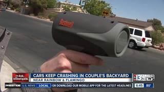 Man finds blocks in pool after violent crash