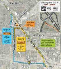 Durango Drive on-ramp to southbound US 95 closed