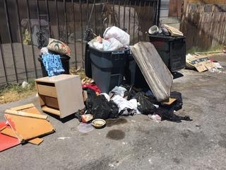 Trash piling up near Downtown Las Vegas